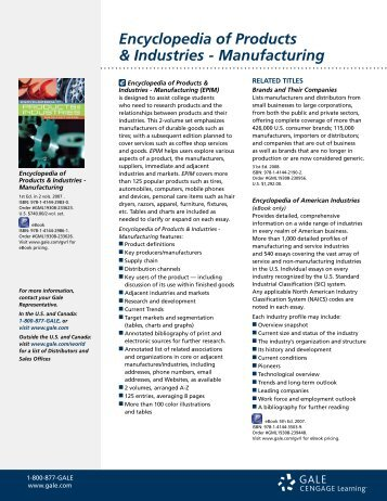 Encyclopedia of Products & Industries - Manufacturing - Gale