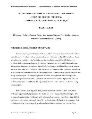 Gestion budgétaire et politique de stabilisation au sein des régimes ...