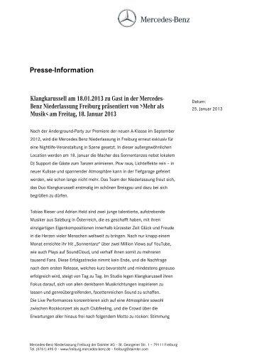 Presse-Information - Mercedes-Benz Niederlassung Freiburg
