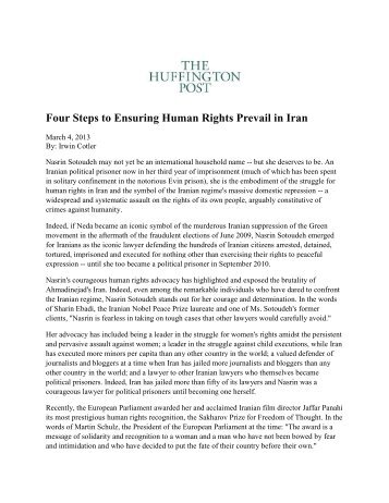 Four Steps to Ensuring Human Rights Prevail in Iran - Freedom Now