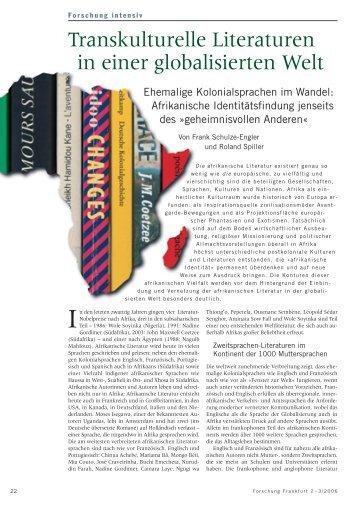 Transkulturelle Literaturen in einer globalisierten Welt - Forschung ...