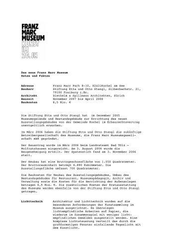Das neue Franz Marc Museum Daten und Fakten Adresse Franz ...
