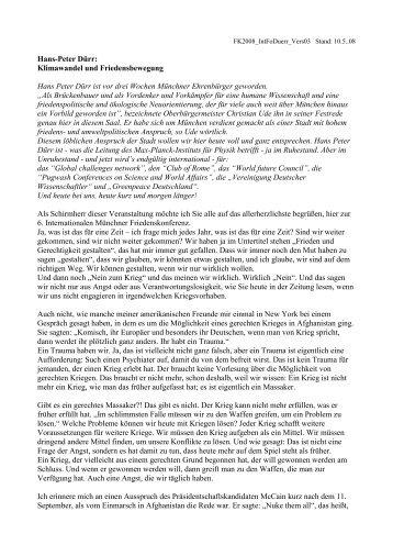 Grußwort Prof. Hans-Peter Dürr - Friedenskonferenz