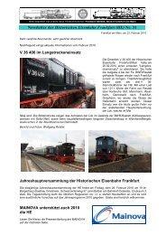 Newsletter_31 vom 22.02.2010 - Historische Eisenbahn Frankfurt
