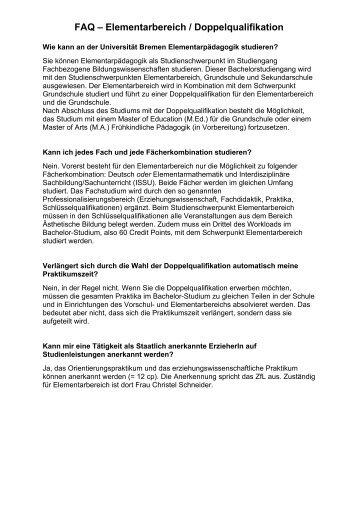 FAQ – Elementarbereich / Doppelqualifikation - Universität Bremen