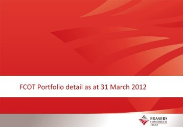 FCOT Portfolio detail as at 31 March 2012 - Frasers Commercial Trust