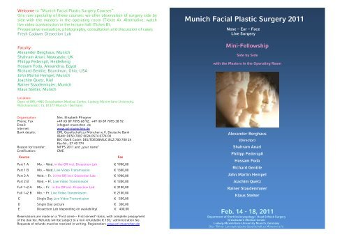 Munich Facial Plastic Surgery 2011