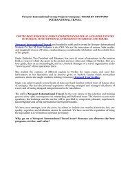 Newport International Group Projects Company: TOURS BY NEWPORT INTERNATIONAL TRAVEL