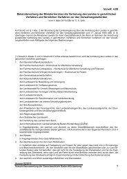 Bekanntmachung der Ministerien über die Vertretung des Landes in ...