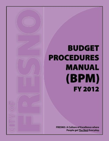 Budget Procedures Manual - City of Fresno