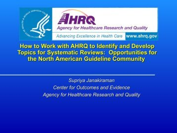 Work with AHRQ to Identify and - Guidelines International Network