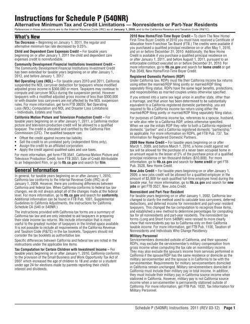 Instructions For Schedule P 540nr California Franchise