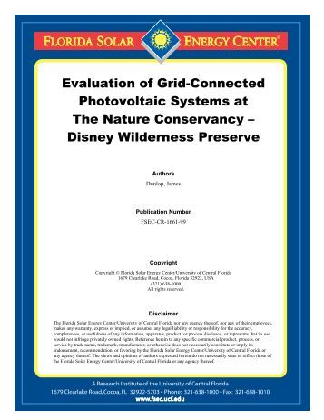 Evaluation of Grid-Connected Photovoltaic Systems at The Nature ...