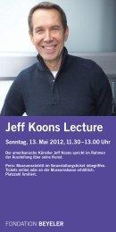 Jeff Koons Lecture - Fondation Beyeler