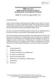 Technische Regeln für Betriebssicherheit TRBS 2141 Teil 2 ...
