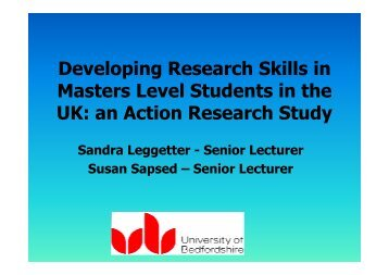 Developing Research Skills in Masters Level Students in the ... - CASA