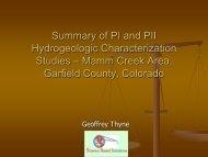 Summary of PI and PII Hydrogeologic Characterization ... - Earthworks