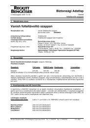 Biztonsági Adatlap Vanish folteltávolító szappan - Galatea Kft.