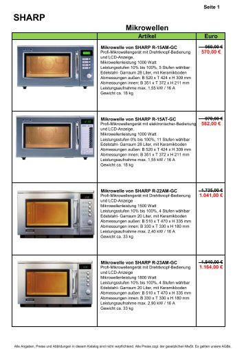 Sharp Mikrowellen - Gastro-Ausverkauf.de