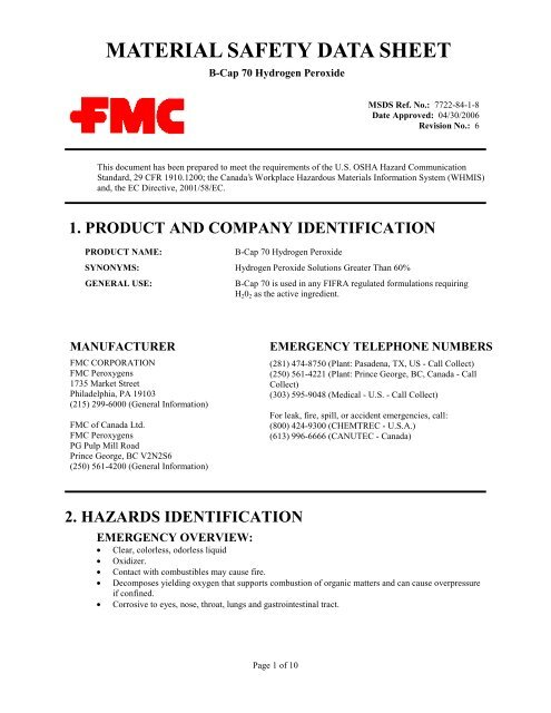 B-Cap 70 Hydrogen Peroxide - FMC Corporation c2d1eea0f5b