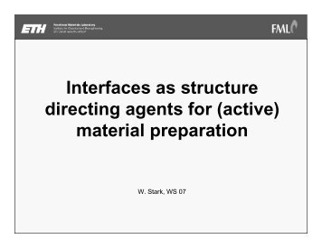 Interfaces as structure directing agents for (active) material ... - FML