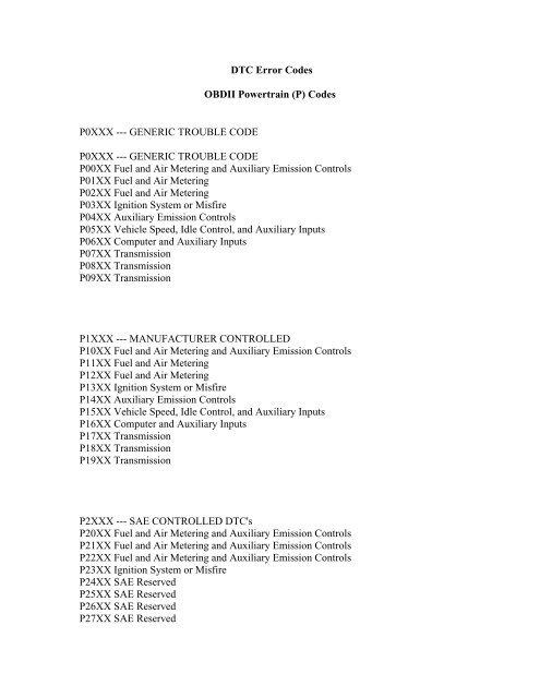DTC Error Codes pdf