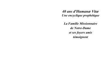 Livret actes session HV - Famille missionnaire de Notre-Dame