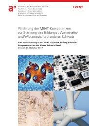 Tagungsprogramm - Akademien der Wissenschaften Schweiz