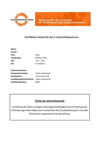Im Gleichgewicht auf instabiler umgedrehter Langbank ... - FSSport.de
