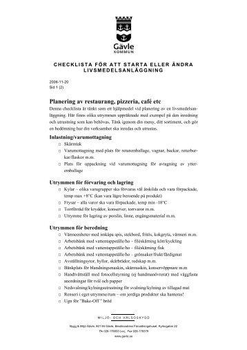 Planering av restaurang, pizzeria, café etc