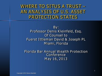 Where to Situs a Trust: An Analysis of U.S. Asset Protection States