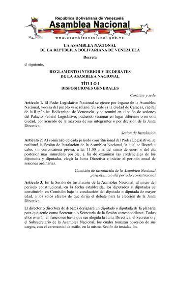 Reforma del Reglamento Interior y de Debates de la Asamblea