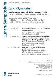 Lunch -Symp o siu - Fortbildung - UniversitätsSpital Zürich