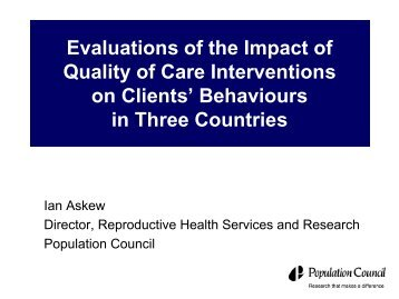 Evaluations of the Impact of Quality of Care Interventions on Clients ...