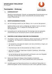 SPORTUNION TIROLERHOF Tennisplatz - Ordnung