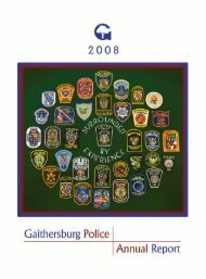 I. Message from the Chief - City of Gaithersburg