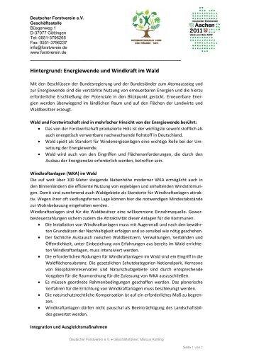 Hintergrund: Energiewende und Windkraft im Wald - Deutscher ...