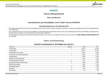 Jahresabschluss Siemens Aktiengesellschaft zum 30. September ...