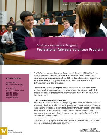 Professional Advisors Volunteer Program - University of Washington ...