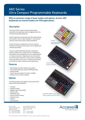 AKC series programmable retail point of sale (POS ... - Access IS