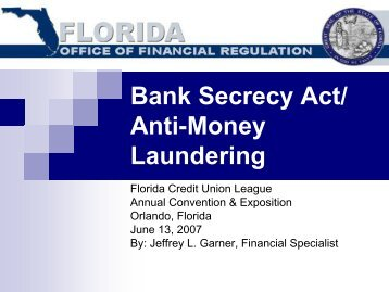 Bank Secrecy Act/ Anti-Money Laundering - Florida Office of ...