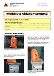 Merkblatt Abfallentsorgung Gams, Druckversion - Gemeinde Gams