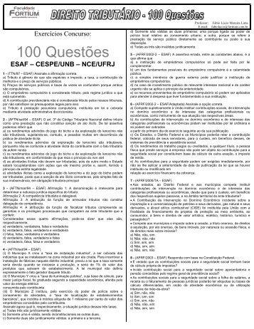 100 questões direito tributário - Fortium