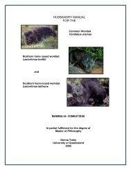 Wombat Husbandry Manual - Australasian Society of Zoo Keeping