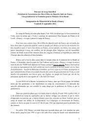 Discours de Serge Klarsfeld - Fondation pour la Mémoire de la Shoah
