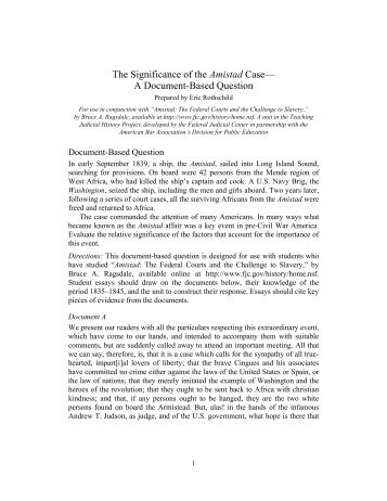 The Significance of the Amistad Case— A Document-Based Question