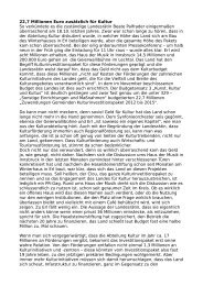 22 komma 7 Millionen Euro fuer Kultur - Freirad