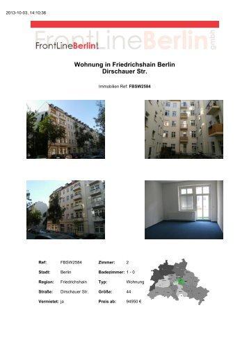 Wohnung in Friedrichshain Berlin Dirschauer Str. - Front Line Berlin ...