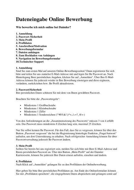 Bewerbung Daimler Jobsearch Bewerbung