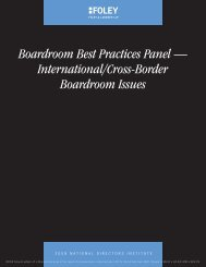 Boardroom Best Practices Panel - Foley & Lardner LLP